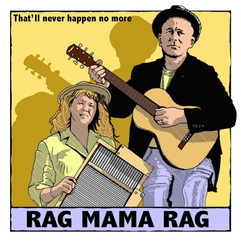 Rag Mama Rag musical duo illustration with guitar and washboard